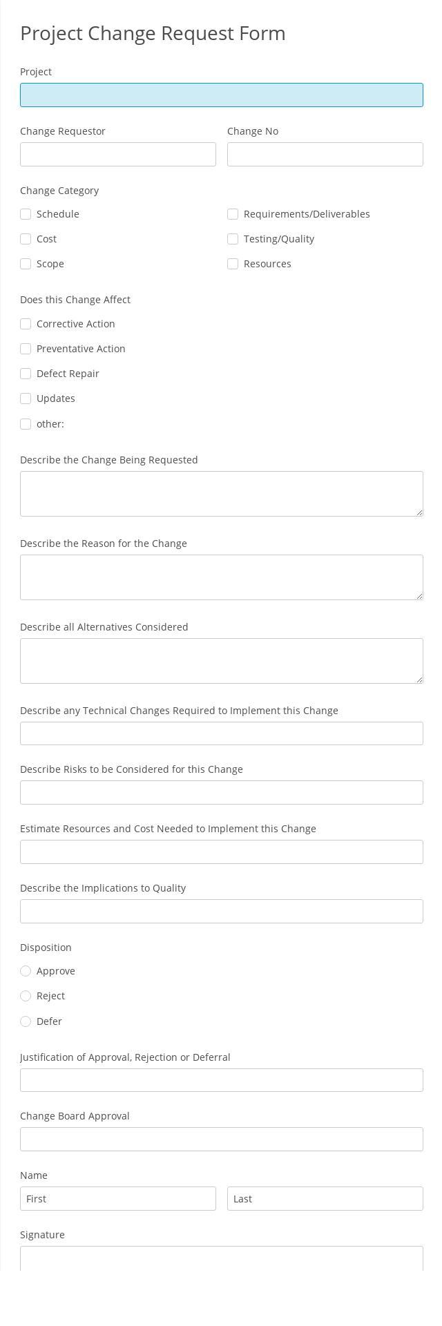 Project Change Request Form
