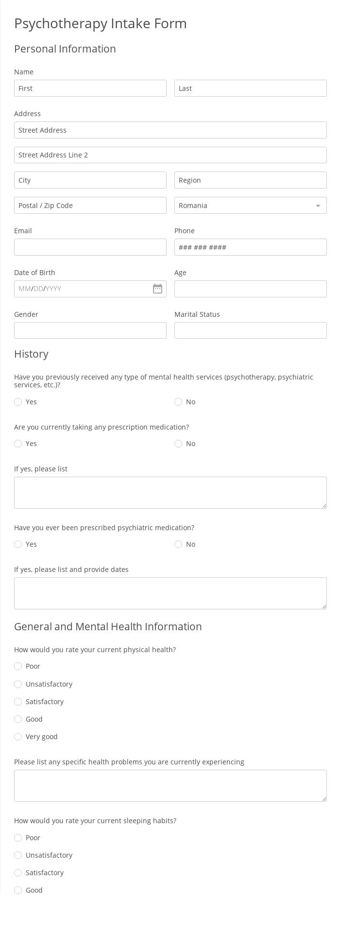 Psychotherapy Intake Form
