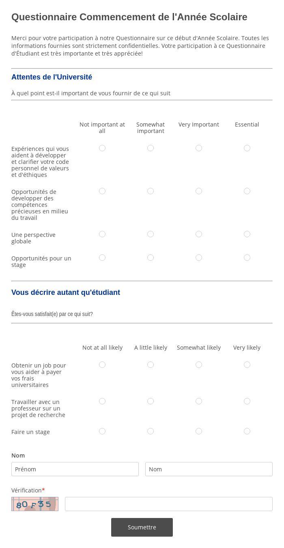 Questionnaire Commencement de l'Année Scolaire