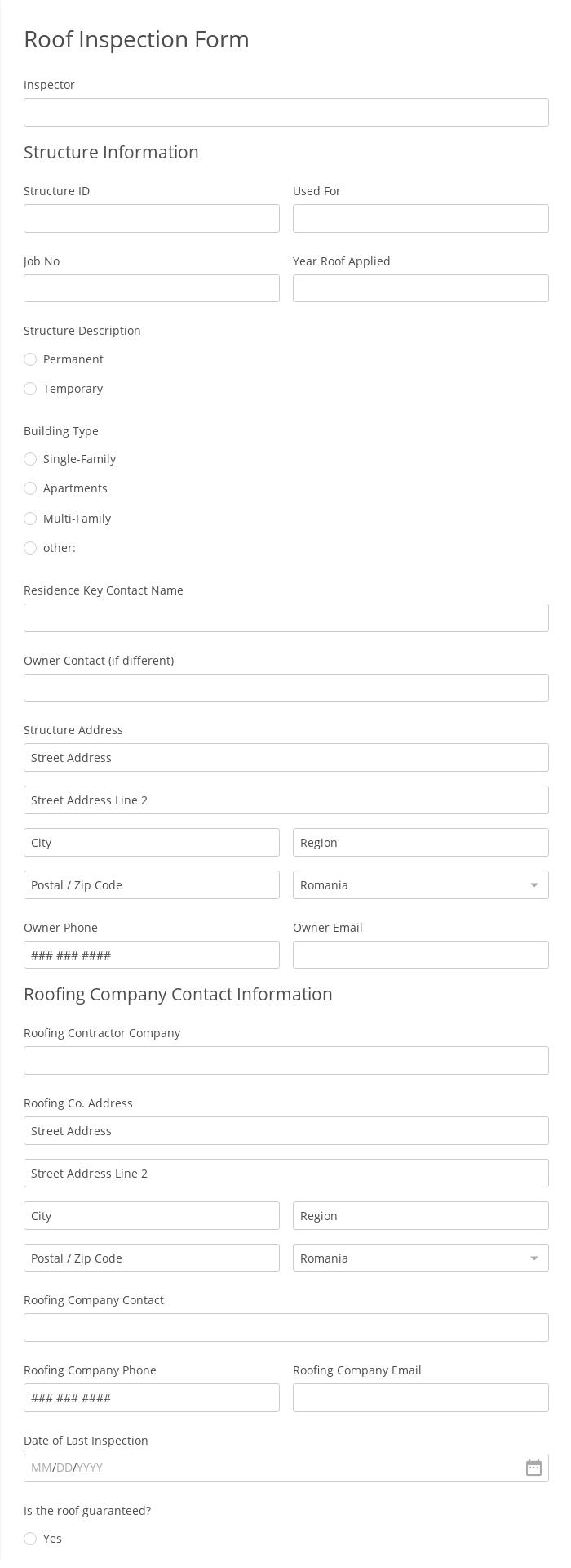 Roof Inspection Form