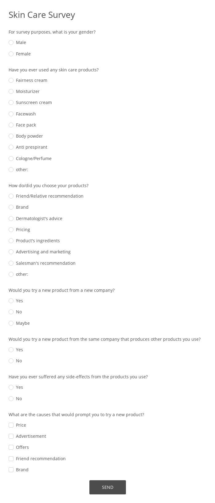 Skin Care Survey