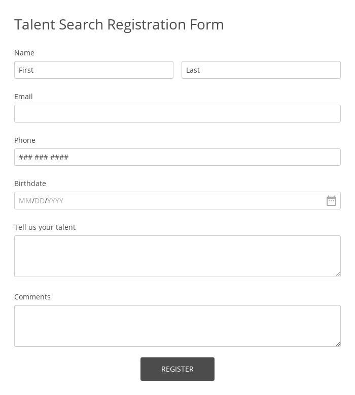 Talent Search Registration Form