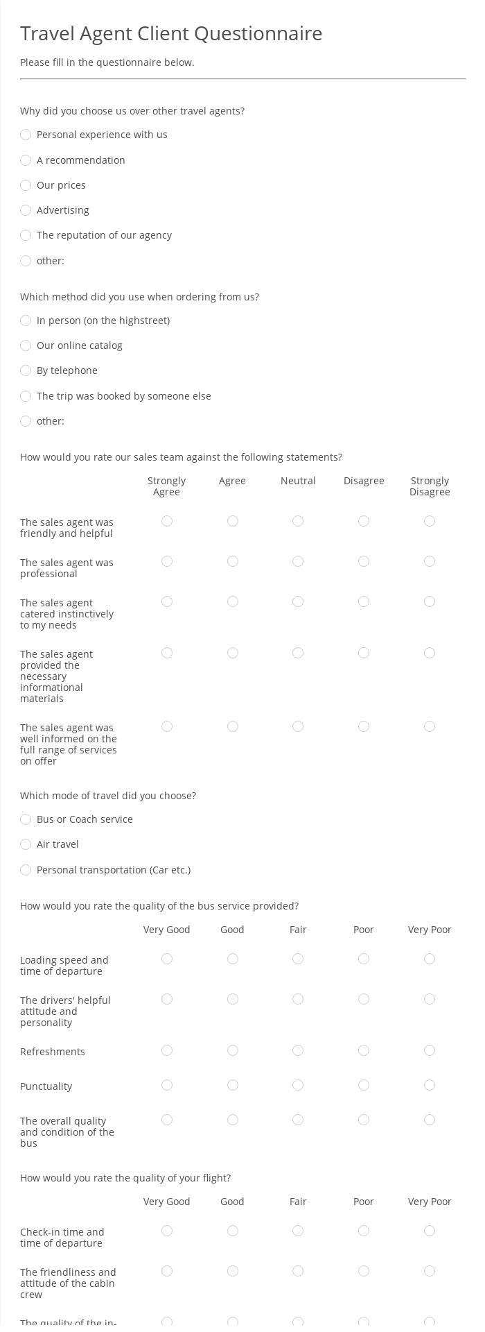 Travel Agent Client Questionnaire