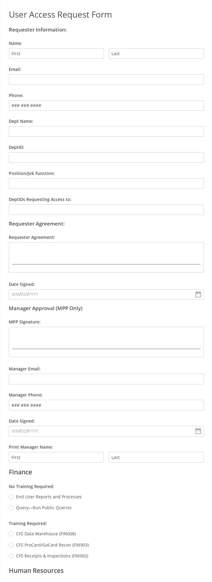 User Access Request Form