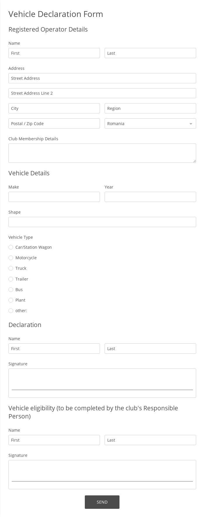 Vehicle Declaration Form