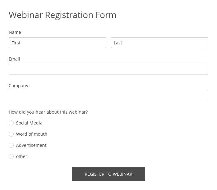 Webinar Registration Form