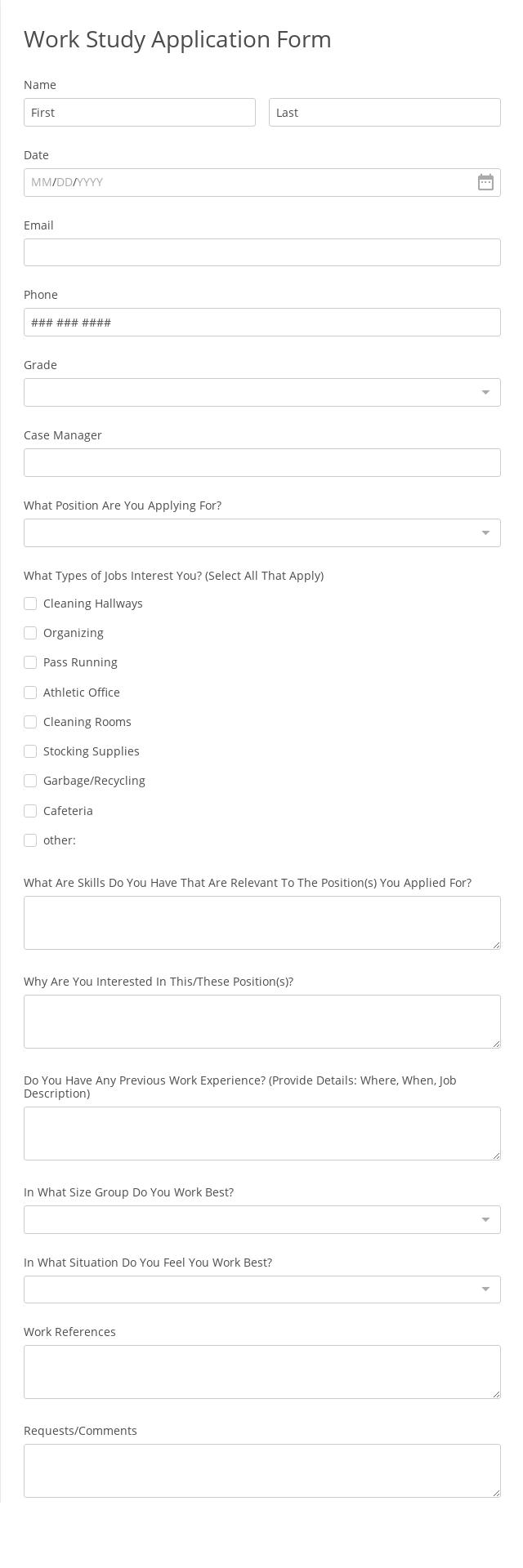 Work Study Application Form